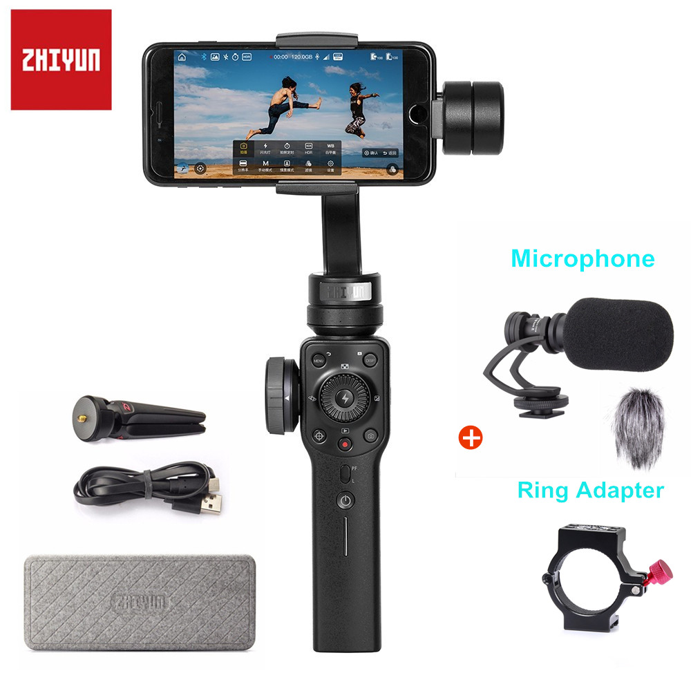 Zhiyun Smooth-Q Smooth 4 3-Axis Phone Handheld Gimbal Stabilizer Moblie for iPhone 6 7 8 X Xiaomi Samsung Galax S8 Smartphone zhiyun z1 smooth r devided version 3 axis smartphone phone gimbal stablizer tripods for iphone 7 8 plus x cellphone under 7 inch