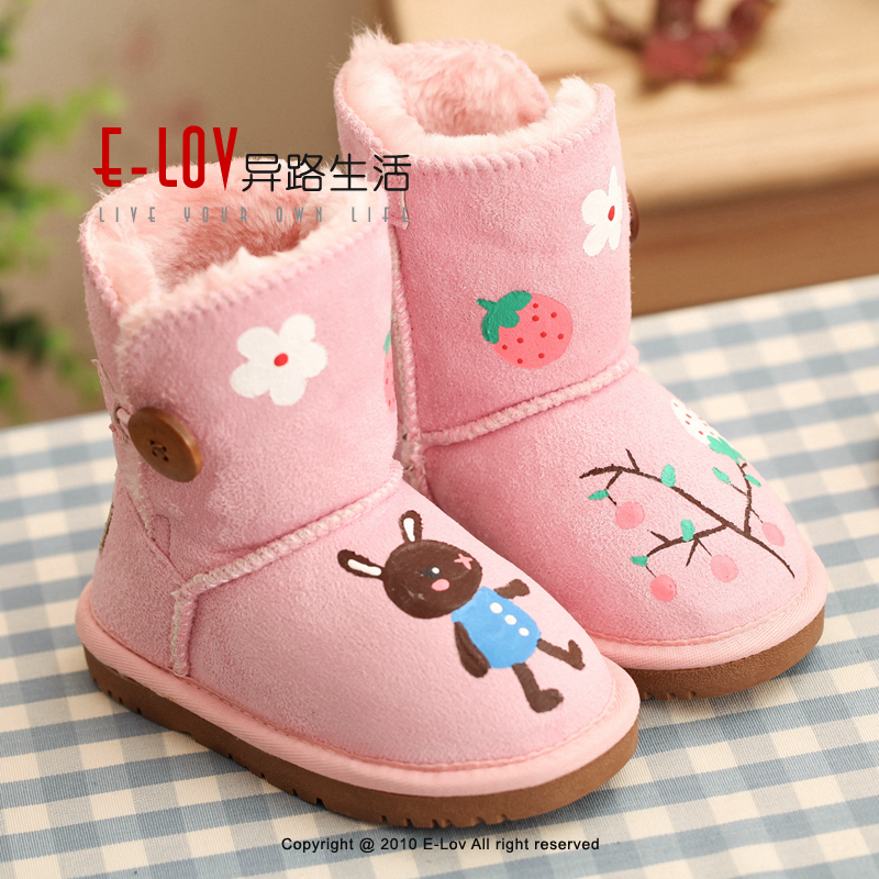 ФОТО E-LOV Pink strawberry & rabbit printing shoes chlidren winter shoes botas warm hand-painted high wedges snow boots