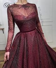 Glitter Sequin Bourgondië Lange Mouwen Arabisch Avondjurk 2020 Lange Dubai Prom Dresses Moslim Kaftan Vrouwen Formele Partij Jassen