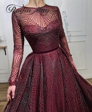 Glitter Sequin Burgundyแขนยาวอาหรับชุดราตรียาว2020ดูไบพรหมชุดมุสลิมKaftanผู้หญิงอย่างเป็นทางการGowns