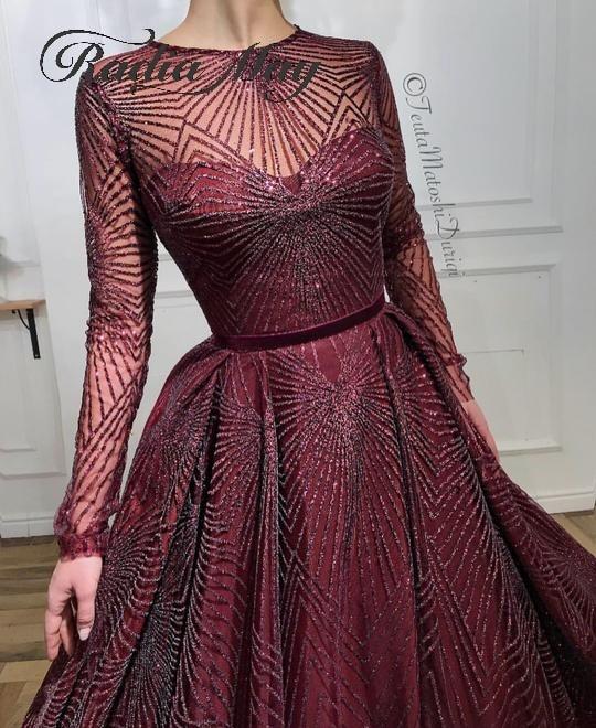 Glitter Sequin Burgundy Long Sleeves Arabic Evening Dress 2020 Long Dubai Prom Dresses Muslim Kaftan Women Formal Party Gowns