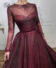 Glitter lantejoulas borgonha mangas compridas árabe vestido de noite 2020 longo dubai vestidos de baile muçulmano kaftan feminino formal vestidos de festa