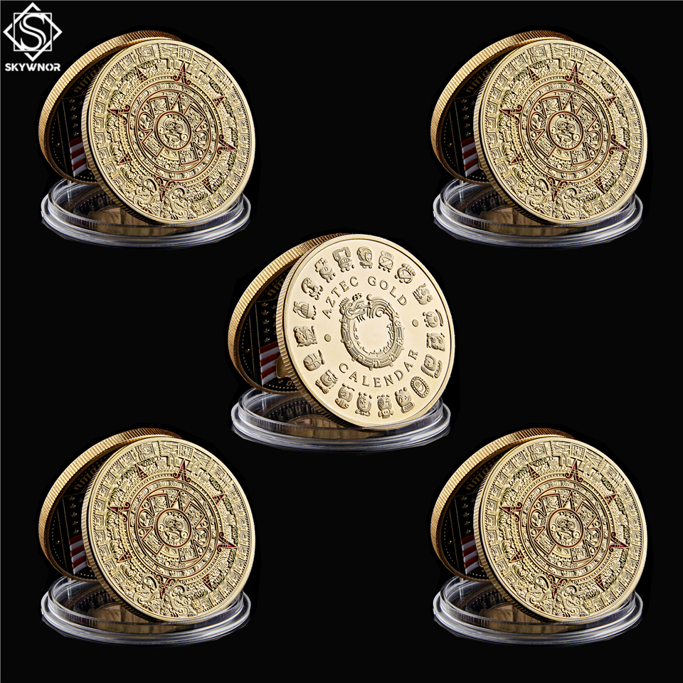 5PCS/Lot Mexico Gold Plated Calendar Azetc Gold Culture Souvenir Copy Coin Collectibles