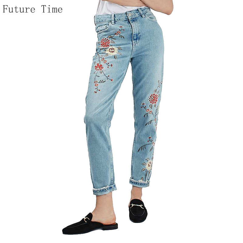 ФОТО 2017 Spring Women Jeans High Waist Floral Embroidery Pencil Pants Fashion Ankle Length Women Denim Pants Casual Female Trousers