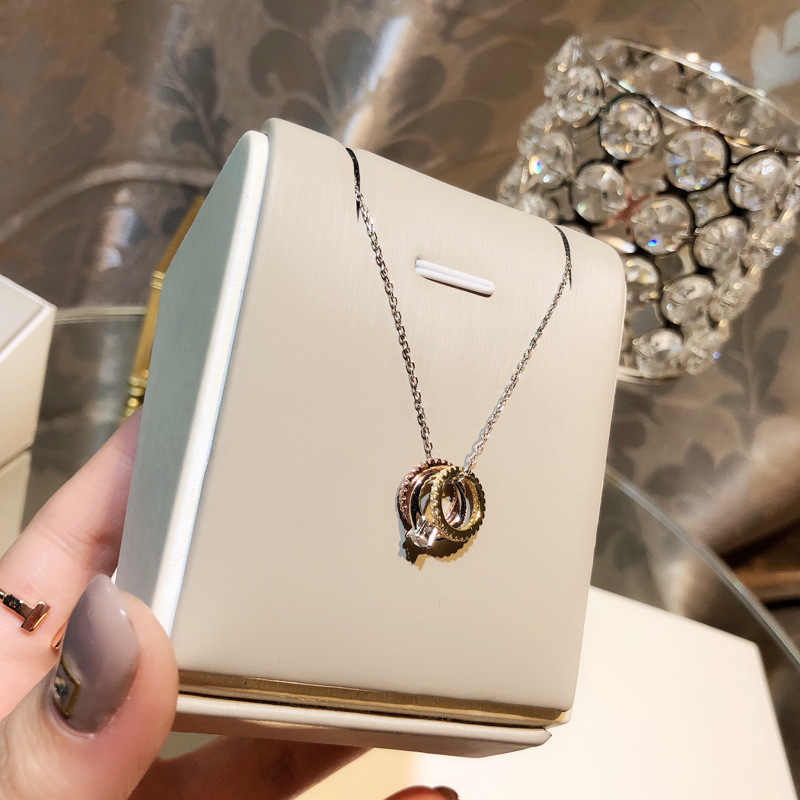 Simple Designer Women Statement Necklace True 925 Sterling Silver Chain Necklace Hot Selling Sparkling Zircon Cirle Pendant