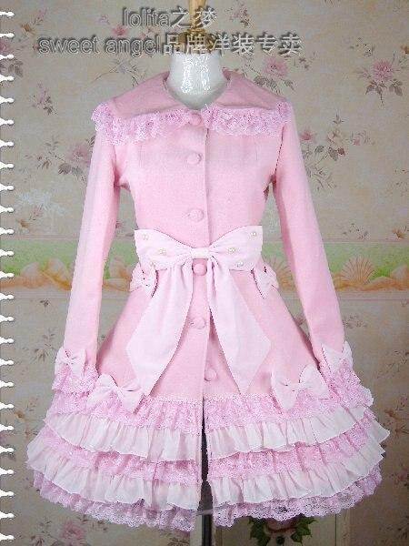 Милое розовое теплое зимнее милое пальто Лолиты зимние длинные пальто всех размеров с каппой
