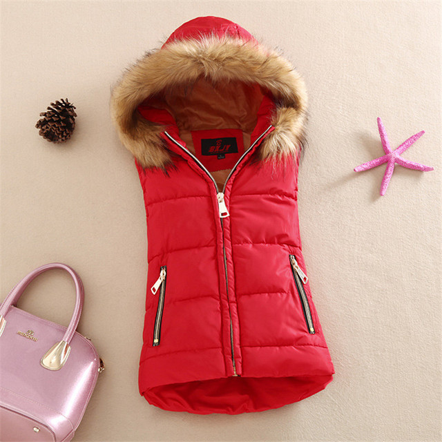 autumn and winter New cotton vest with a hood patchwork cotton vest female reversible winter jacket women WWF27