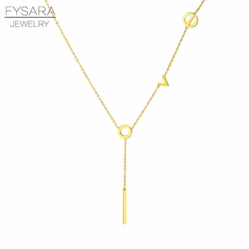 FYSARA Classic Elegant Charming Love Letter Pattern Necklace For Women Titanium Steel Gold Color Women Necklace Pendant Jewelry