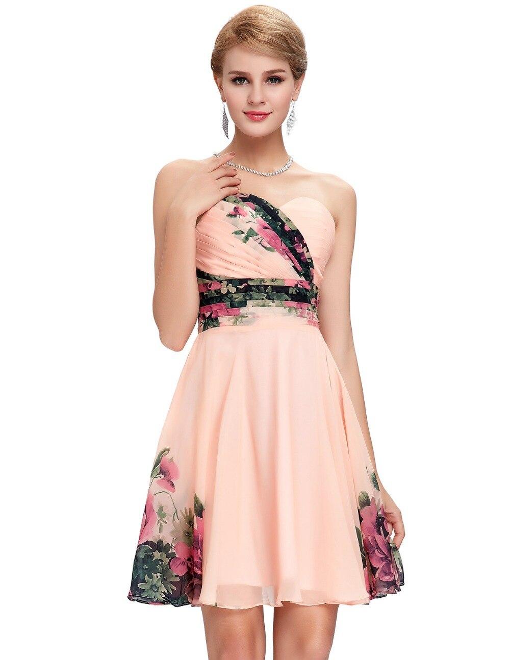 Online Shop Flower Print Short Prom Dresses 2017 Chiffon Knee ...