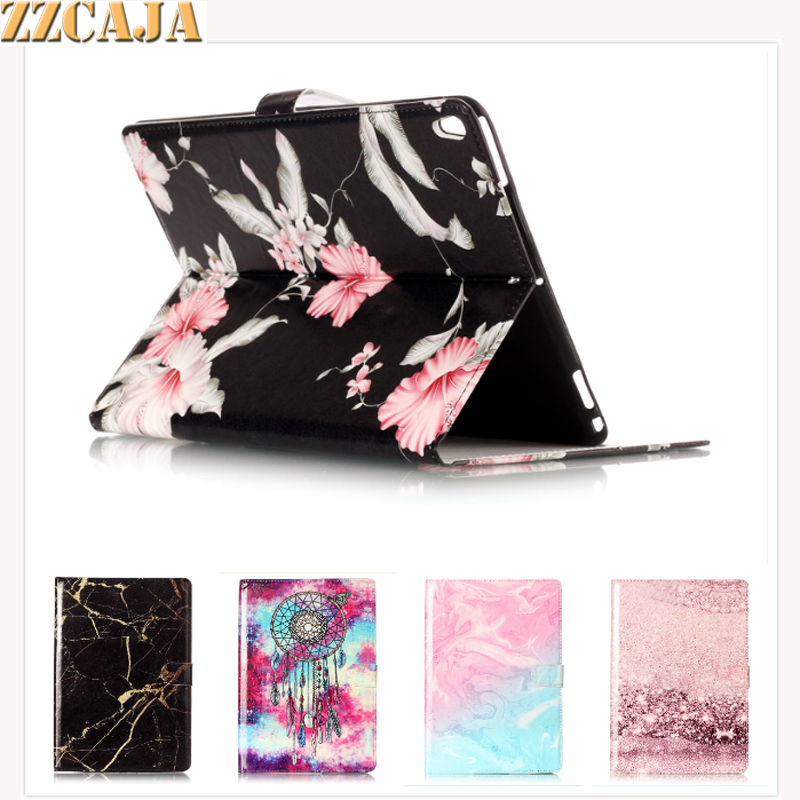 ZZCAJA Fundas For iPad Pro 10.5 inch Case New Fashion Flowers Marble PU Leather