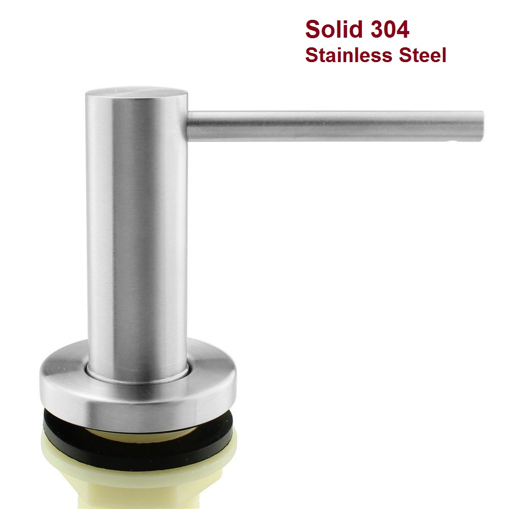 Solid 304 Stainless Steel Brushed Kitchen Built In Sink Liquid Soap Dispenser Hand Pump 17 OZ (500ML)Bottle modern black kitchen sink soap dispenser stainless steel hand dish liquid soap pump 500ml
