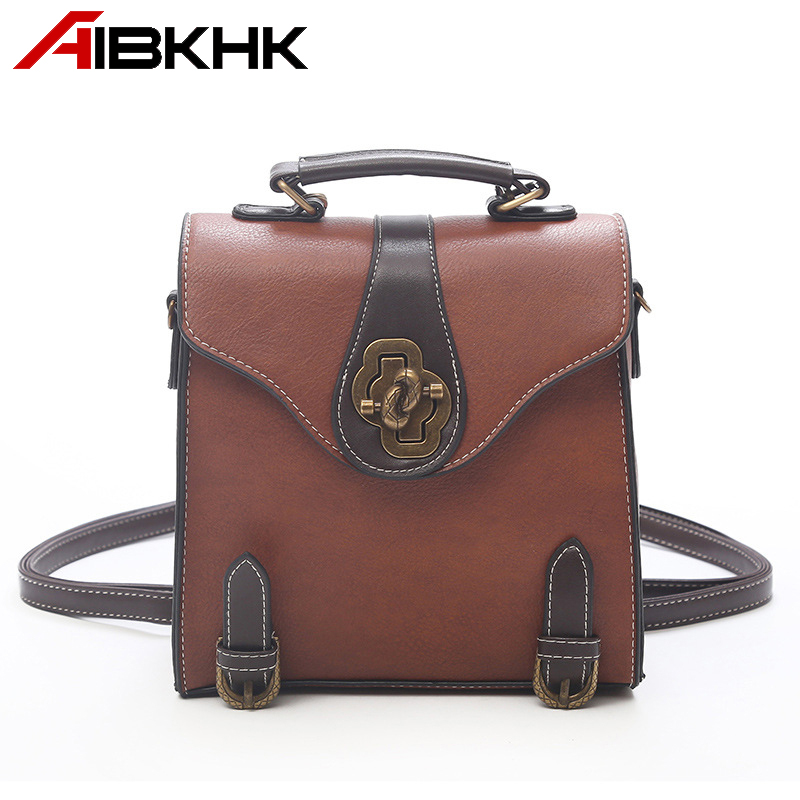 AIBKHK Vintage style Women Backpacks Upscale PU Leather Metal Buckle Brown Bagpack Fashion Simple Small Square bags for girl