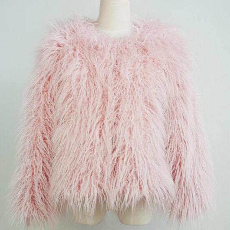 LET-SETTING Elegant Faux Fur Coat Women Warm Long Sleeve Female Outerwear Autumn Winter Coat Jacket Hairy Overcoat