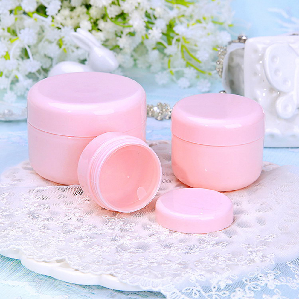 60Pcs 10g/20g/50g/100g Refillable Sample Bottles Plastic Empty Makeup Jar Pot Travel Face Cream Lotion Cosmetic Container Pink