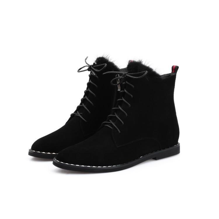 3e2d3fd051f2 Chaussures En Rond Croix Caoutchouc Pour Femmes Noir Avec Bottes D hiver De  Liée Mujer Suédé Zapatos Bout Fourrure Talon Cheville Plat Femme ...