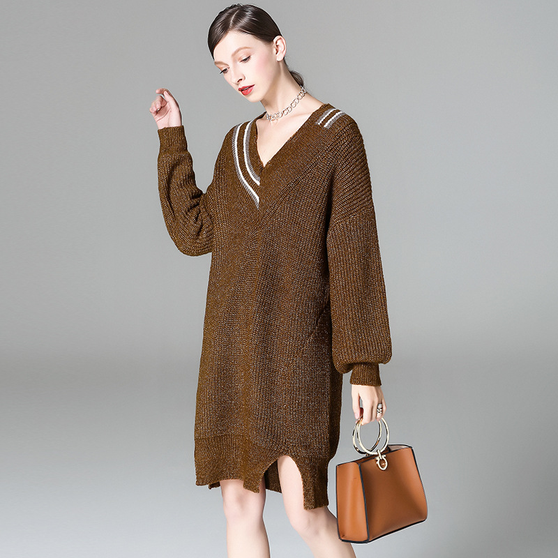 Woman Loose Sweater Dress Autumn Plus Size Fashion Lantern Sleeve V Neck Irregular Casual Knitted Dress Wholesale free shipping