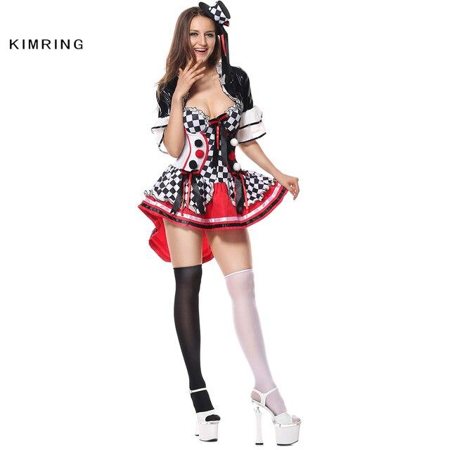 27029aa632063 US $44.69 |Kimring Deluxe Harlekin Halloween Kostüm Cosplay Sexy Circus  Clown Horror Kostüm Kostüm Kleid Erwachsene Frauen in Kimring Deluxe ...