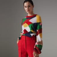 Шикарные геометрический узор женские пуловеры, Свитера 2018 осень взлетно посадочной полосы модная одежда с длинным рукавом О образным вырез