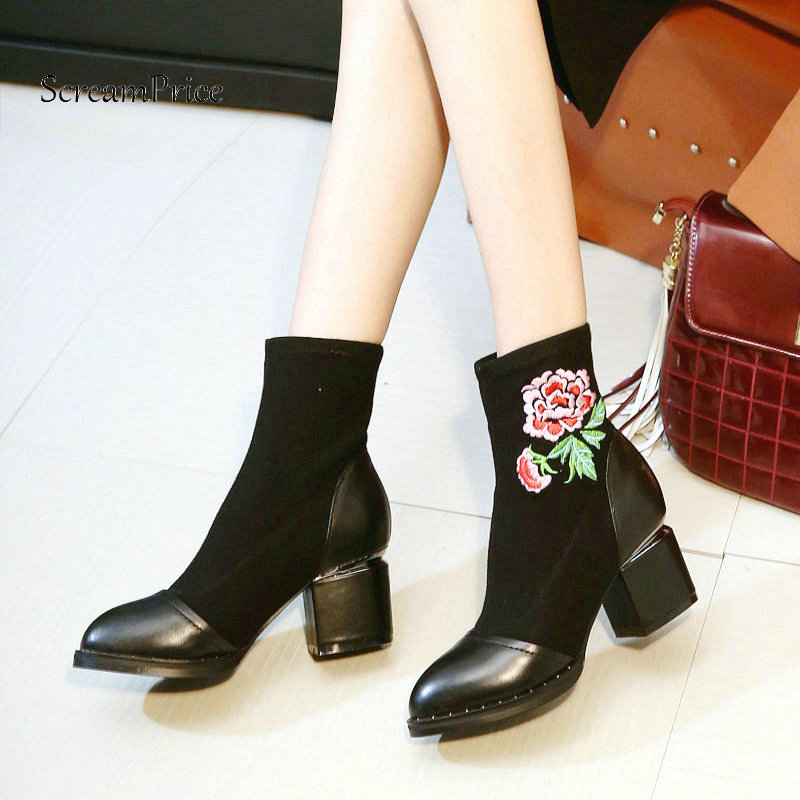 New Genuine Leather Comfort Square High Heel Slip On Woman Ankle Boots Fashion Flower Pointed Toe Stretch Boots Ladies Black