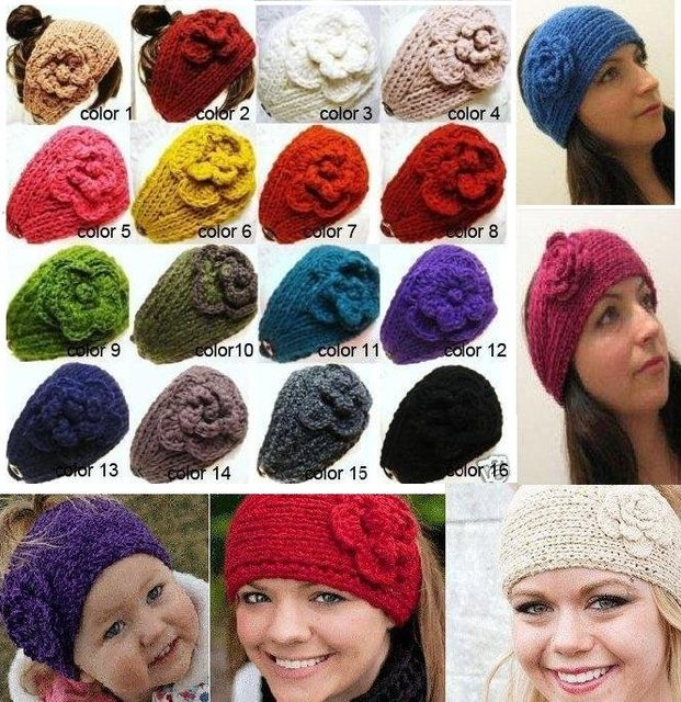 HOT SALE Can Mixed quantity and colors Free Shipping Handmade Winter Women knitted with flower,crochet headband