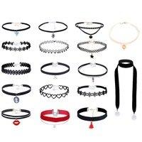 17 Pcs Special Design Fashion Choker Set Tassel Pendant Necklace Heart Flower Choker Red Pearl Beads
