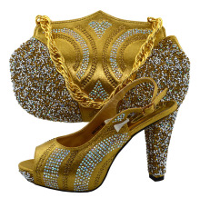 African Shoe and Bag Set for Party In Women Gold Color African Women Matching Italian Shoe and Bag Set Decorated with Appliques