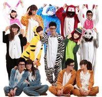 Hot Unisex Adult Flannel Pajamas Adults Cosplay Cartoon Cute Animal Onesies Pyjama Sets Sleepwear Pikachu Stitch