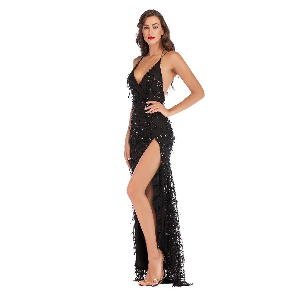 Sexy femmes Vestidos soirée tenue de club robe élégante noir Sequin gland col en v dos nu fronde bretelles Split longues robes