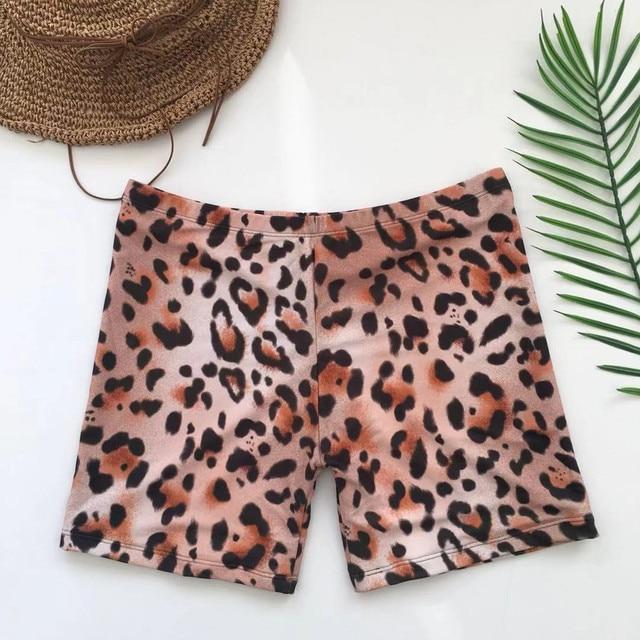 Womail Women shorts Fashion Leopard Print Sexy Swimwear Beachwear Siamese Swimsuit Shorts shorts Daily denim color dropship j24