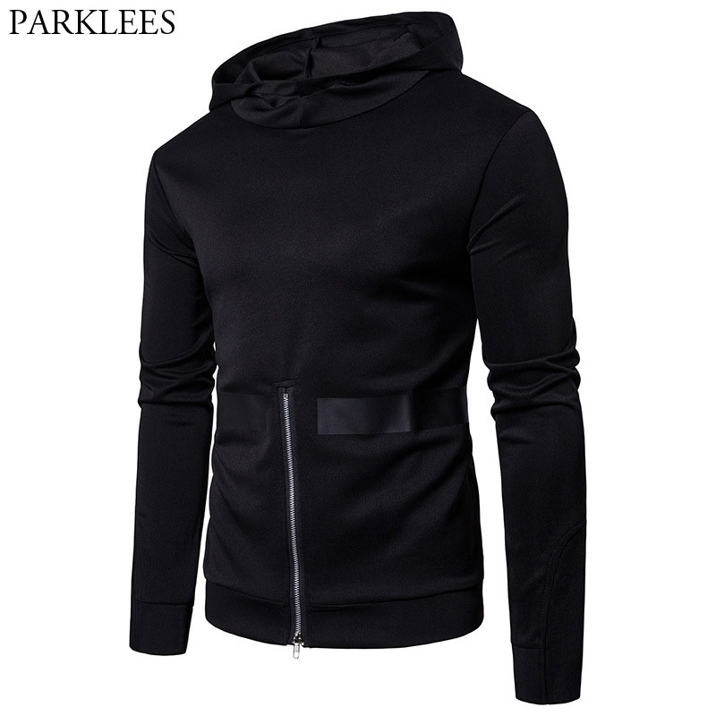 Cool Black Hooded Sweatshirt Men 2018 Spring New Bottom Zipper Design Mens Hoodies And Sweatshirts Casual Harajuku Sweat Homme