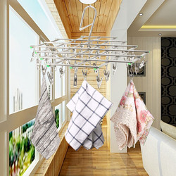 1Pcs Stainless Steel Folding Hook 35 Pegs Clip Underwear Socks Gloves Drying Rack Clothes Hangers Home Storage Supplies