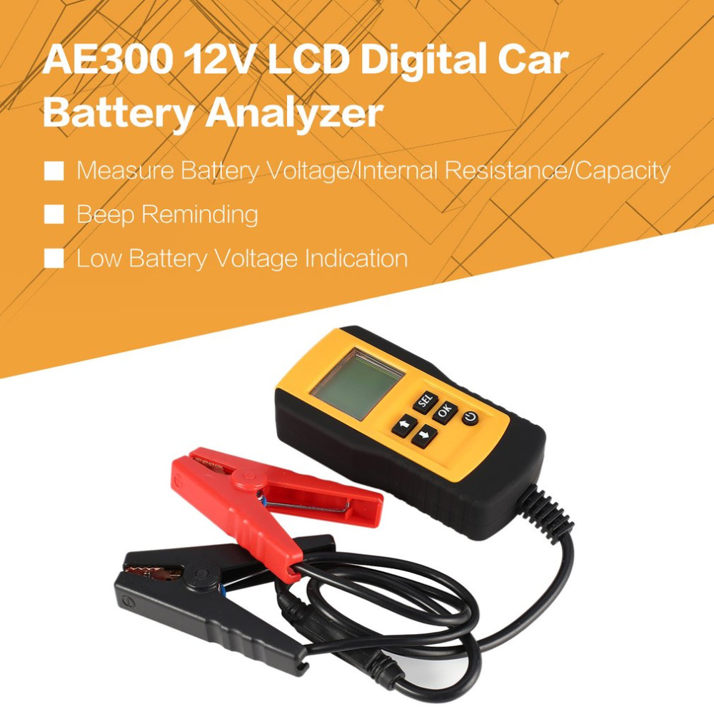 AE300 12V LCD Digital Car Battery Auto System Analyzer Automotive Vehicle Battery Voltage ohm Tester Diagnostic Tool YELLOW