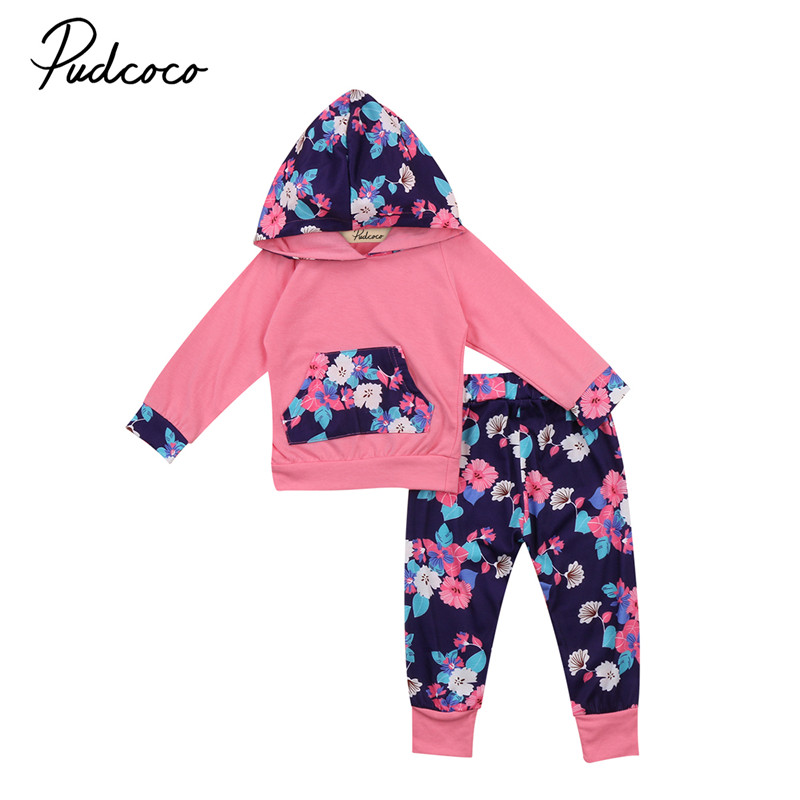 0 to 3T Newborn Baby Girls Clothes New Style Floral Hooded Long Sleeve Tops+Long Pants Outfits Baby Clothing Set