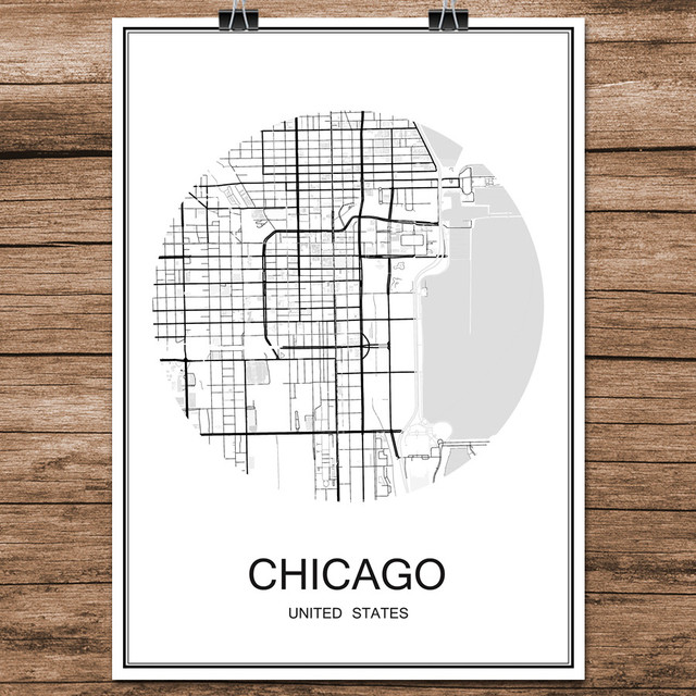Chicago usa famous world city street map print poster abstract coated paper cafe living room home