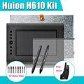 """2 plumas H610 Huion gráfica Tablet dibujo Digital del Kit + 15 """" + Parblo dos dedos 10 plumillas adicionales + película protectora"""