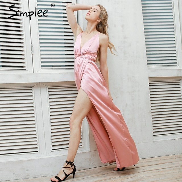 Simplee Slip satin backless sexy long dress Women pajamas summer dress evening Party elegant black maxi dresses vestidos
