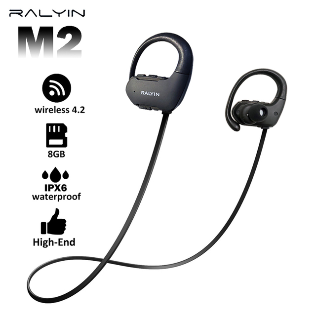 Ralyin 8GB mp3 player bluetooth headphone sport waterproof wireless headset bluetooth music player bluetooth earphone for phone