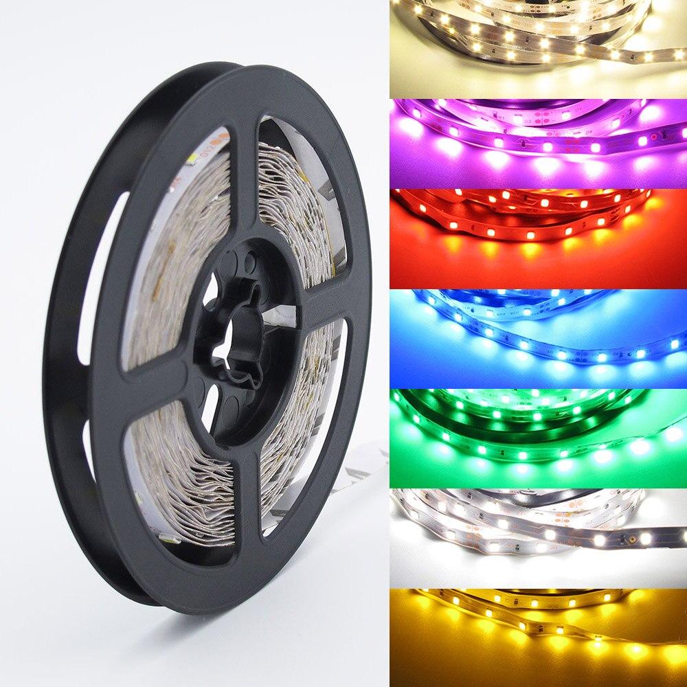Tira de luces LED RGB de 5 m/lote, 300 LEDs SMD 2835 12 V, cinta LED blanca/blanca cálida/azul/verde/rojo/RGB Tira de LED RGB impermeable 5050 5M 10M 15M 20M 30M DC 12V RGBWW RGBW tiras de luz LED flexibles agregar controlador amplificador de potencia
