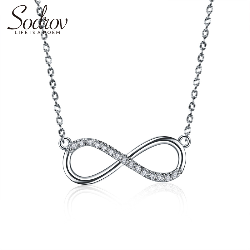 SODROV 925 Silver lucky 8 Chian Pendant Necklace For Women silver 925 jewelry Silver Necklace