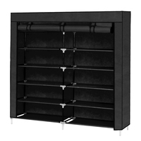 7 Tiers Dustproof Non Woven Fabric Shoes Rack Shoe Storage Organizer Cabinet Black Stand Holder Shoes Shelf Home Accessories