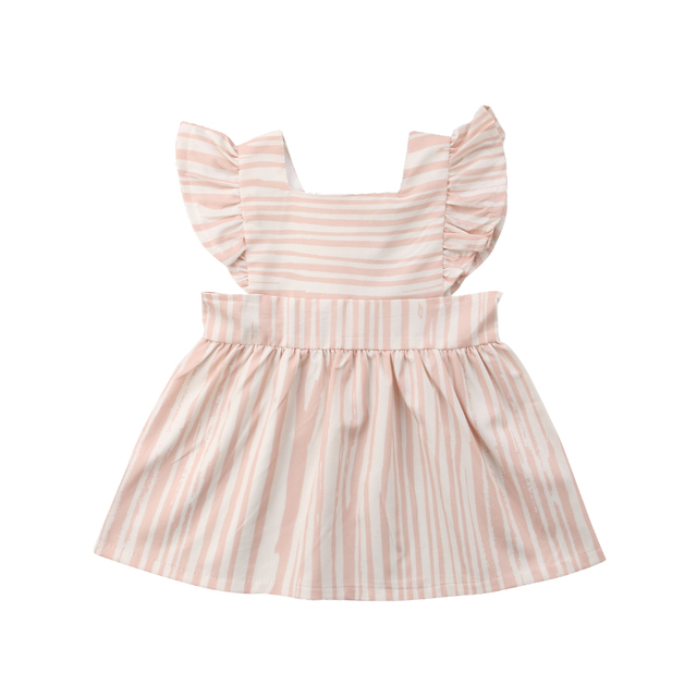 fd87e0511 Kids Baby Girls Sister Matching Clothes Striped Ruffles Dress Party ...