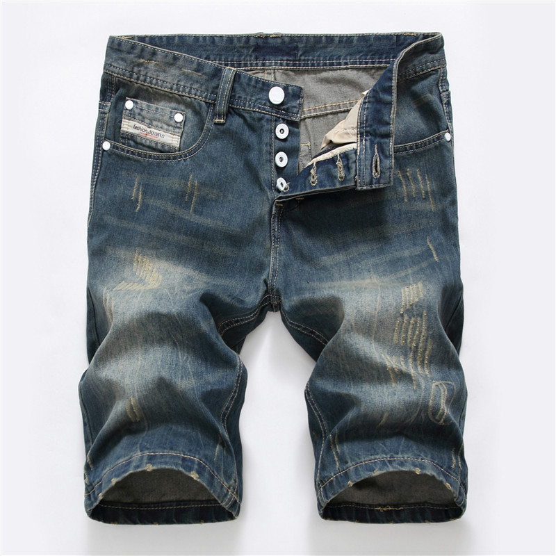 Mens Skull Casual Summer Denim Shorts Cotton Jeans