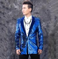 M 3XL Новый 2018 Для мужчин одежда певец DJ Блёстки костюм жениха торжественное платье ночной клуб певец корейский Блейзер Для мужчин Пальто для
