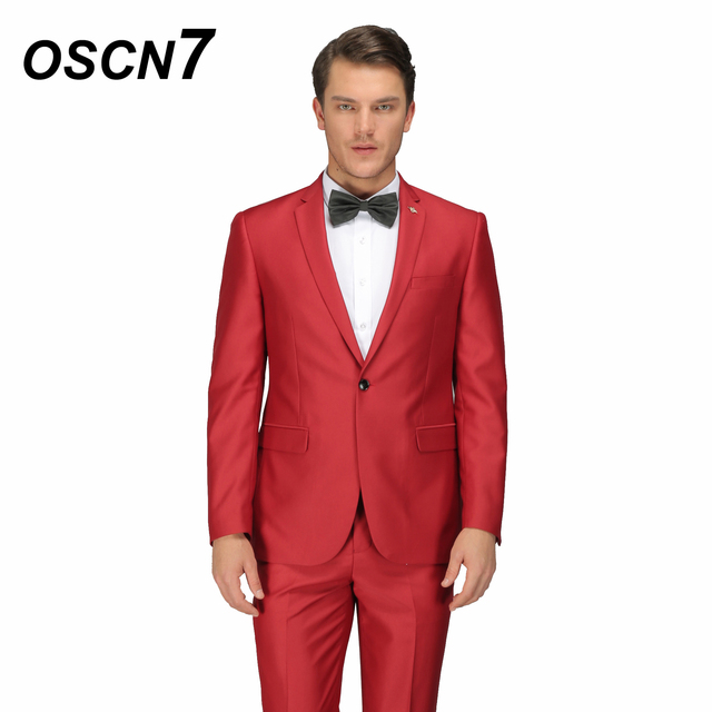 0560434691c OSCN7 Red 3PCS Customize Suit Men Party Fashion Slim Fit Leisure Costume  Homme Plus Size Leisure Men s Suits 10083R3
