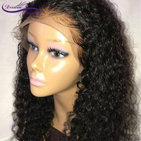 Curly Lace Front Human Hair Wigs For Women Natural Black Brazilian Remy Human Hair Pre Plucked Wig With Baby Hair Dream Beauty