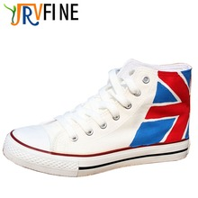 YJRVFINE Breathable Men Canvas Shoe Mens British Flag Hand-painted Casual Shoes Flats Male Walking Shoes Boys Unisex Adult S063M