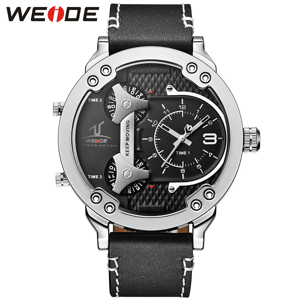 WEIDE Three Time Zones Sports Analog Display Wristwatch Genuine Leather Strap Buckle Military Quartz Men Business Quartz Watches waterproof weide brand military watch big round dial analog two time zones display leather strap men army sports waches relogio