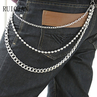 Punk 3 Lines Curb Chain Jeans Metal Skull Cross Trousers Chain Silver Color Metal Clothing Accessories Jewelry RUIER451