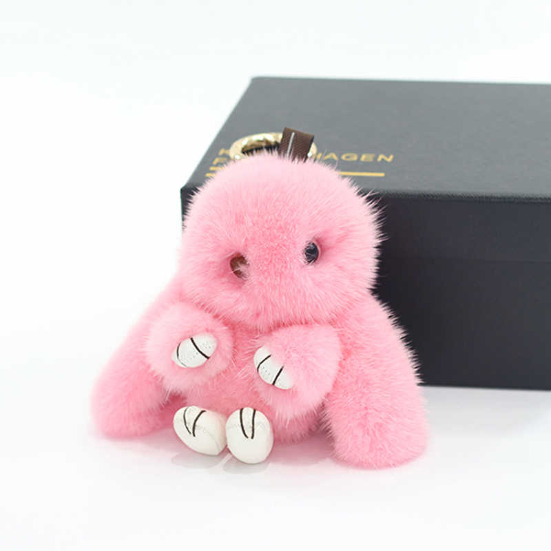 12 cm doux réel vison fourrure porte-clés lapin naturel vison fourrure lapin porte-clés or anneau pendentif pour femmes sac breloques