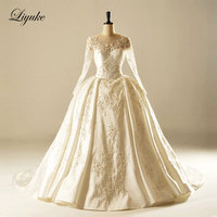 Liyuke Glamorous Satin Scalloped Neckline Ball Gown Wedding Dress Chapel Train Ball Gown Bridal Dress New